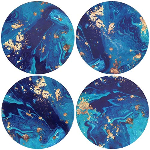 Blue Coasters for Drinks Absorbent Stone Coaster Set,Ceramic Cup Holder Coasters Coffee Mug Place Mats with Cork Base,Prevent Furniture from Dirty and Scratched,Ideal Home Decor|Mandala Style Set of 4
