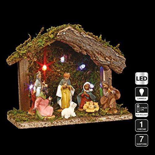 3 in 1 Weihnachtsdeko: 1 Krippe + 7 Krippenfiguren + 1 LED-Beleuchtung