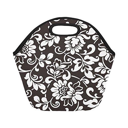 InterestPrint Black and White Damask Insulated Lunch Tote Bag Reusable Neoprene Cooler, Floral Beige Portable Lunchbox Handbag for Men Women Adult Kids Boys Girls