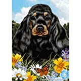 Best of Breed Summer Flowers Garden Flag – Black and Tan Cocker Spaniel For Sale