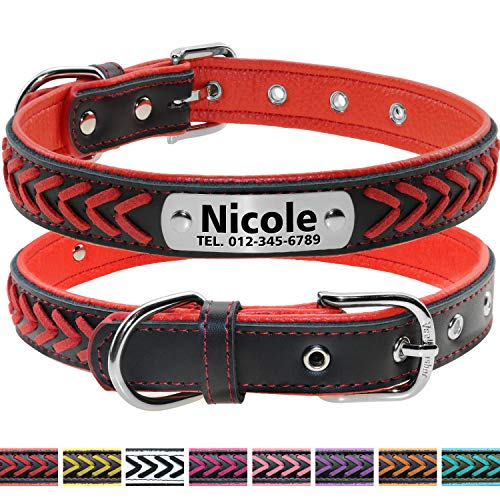 Vcalabashor Custom Leather Dog Collar/Braided Genuine Leather Name Plated Dog Collars for Small Medium Large/Personalized Engraved On Collar Pet ID Tags/Red & Black/XS S M L