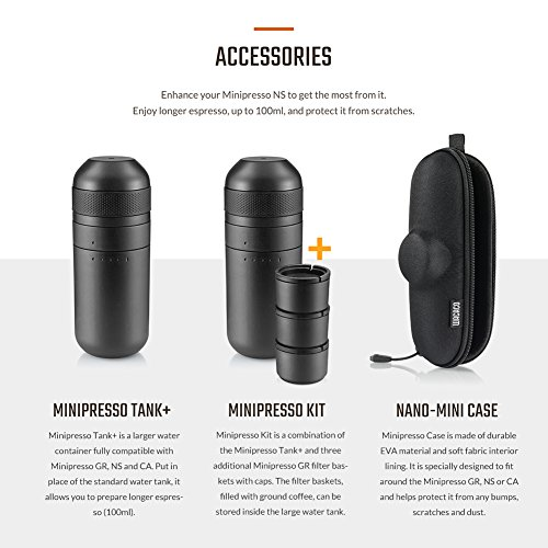 Wacaco Minipresso GR, Portable Espresso Machine, Compatible Ground Coffee, Hand Coffee Maker, Travel Gadgets, Manually Operated, Perfect for Camping, Hiking