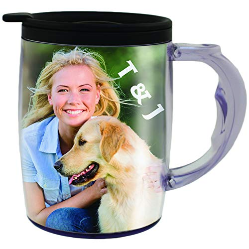 (PixMug with Handle - Photo Mug - The Mug That's A Picture Frame - DIY - Insert Your own Photos or Designs - 15 oz with Spill Proof top)