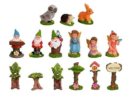 Amazoncom 18 Piece Collection Mini Fairy Garden Village