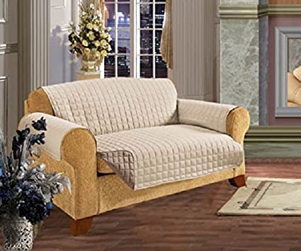 Astounding 3 Seater Sofa Reversible Protector Cream Beige 63 X 70 5 Luxury Quilted Furniture Cover Sofa Settee Throw Water Resistant By Viceroy Bedding Lamtechconsult Wood Chair Design Ideas Lamtechconsultcom