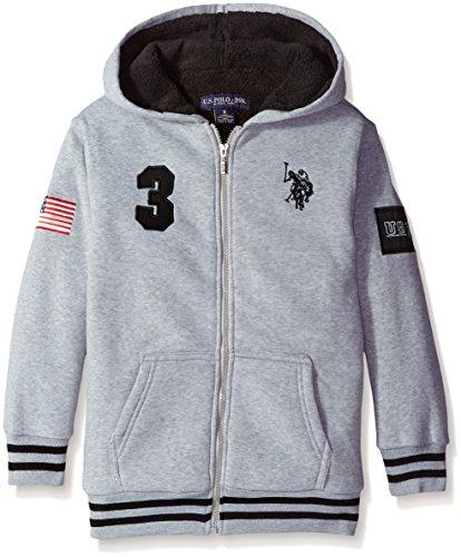 U.S. Polo Assn. Big Boys' Fleece Jacket with Sherpa Lining, Light Heather Gray, (Light Fleece Lining)