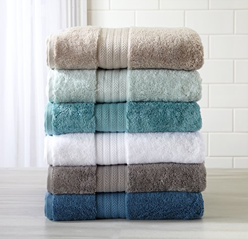 6-Piece Luxury Hotel / Spa Turkish Cotton Modal Blend Towel Set, 600 GSM. Includes Bath Towels, Hand Towels and Washcloths. Alina Collection By Great Bay Home Brand. (White) by Great Bay Home
