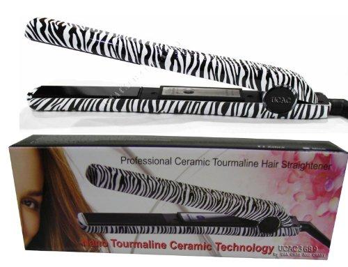 RoyalCraft TM Hair Straightener Iron Zebra Print Ceramic Professional Immediate Heat Up.