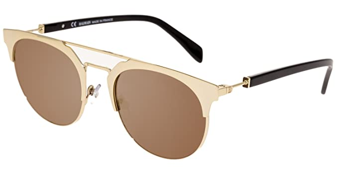 ac2b955fb2 Image Unavailable. Image not available for. Color  BALMAIN BL 2109 Black  Gold Flash Mirror Clubmaster Metal Sunglasses BL2109