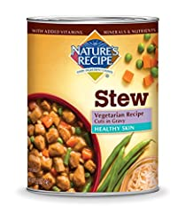 Nature's Recipe Healthy Skin Vegetarian Recipe Cuts In Gravy is a savory, premium dog food made to help support your dog's skin and coat health. Hearty cuts made with pea and soy protein offer a meat alternative, while highly digestible brown...