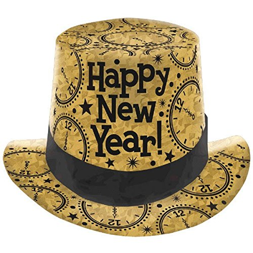 - Amscan Rocking New Year's Party Clocks Prismatic Top Hats Accessory (Pack Of 1), Gold, 5