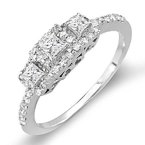 Dazzlingrock Collection 0.50 Carat (ctw) 14k 3 Stone Princess Diamond Ladies Bridal Ring Engagement 1/2 CT, White Gold, Size 5