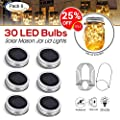 [Upgraded] Solar Mason Jar Lid Lights 30 LEDs - 800mAh Battery | Outdoor Decor, Patio Garden Decor, Solar Lantern Table Light | 6-Pack Hangers and Lids String Fairy Firefly Twinkle Lights/No Jars