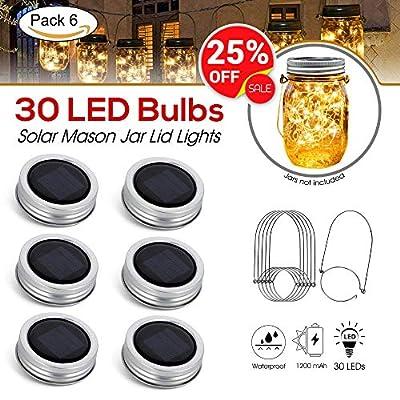 [Upgraded] Solar Mason Jar Lid Lights 30 LEDs - 800mAh Battery | Outdoor Decor, Patio Garden Decor, Solar Lantern Table Light | 6-Pack Hangers and Lids String Fairy Firefly Twinkle Lights/No Jars