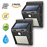 WeePro Outdoor 20 Led Solar Motion Light,  Wireless Security Flood Light Fixtures, 12 Hrs Lighting Time Wall Lamp, for Yard, Front Door, Patio, Pathway, Driveway, Emergency Use, 2Pack
