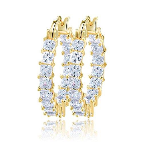 uPrimor Elegant Yellow Gold Plated White Cubic Zirconia Hoop earrings/Loop Earrings, Hoops for Women and Girls