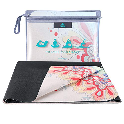 SKL Travel Yoga Mat Foldable 1/16 Inch Thin Fitness Exercise Mat Sweat Absorbent Non Slip Workout Mat for Hot Yoga, Pilates, Floor Exercises, Carrying Bag Included