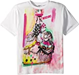 Moschino Kids Girl's Short Sleeve Victorian Graffiti Graphic T-Shirt (Big Kids) Cloud 12