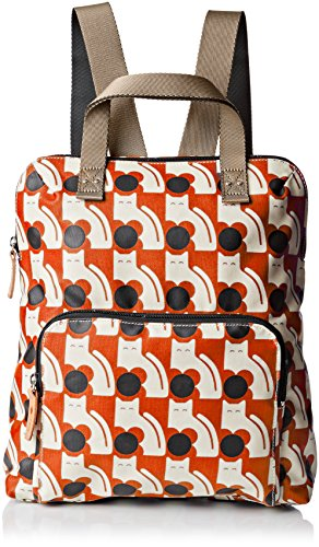 Orla Kiely Poppy Cat Print Tote Backpack - Persimmon - On...