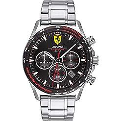 Scuderia Ferrari Mens Chronographe Quartz Montre avec Bracelet en Acier Inoxydable 830714 21