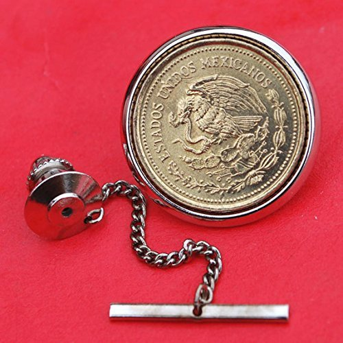 1985 Mexico 20 Pesos National Arms Eagle & Snake Coin Silver Gold Two Toned Tie Tac Tack BRAND NEW