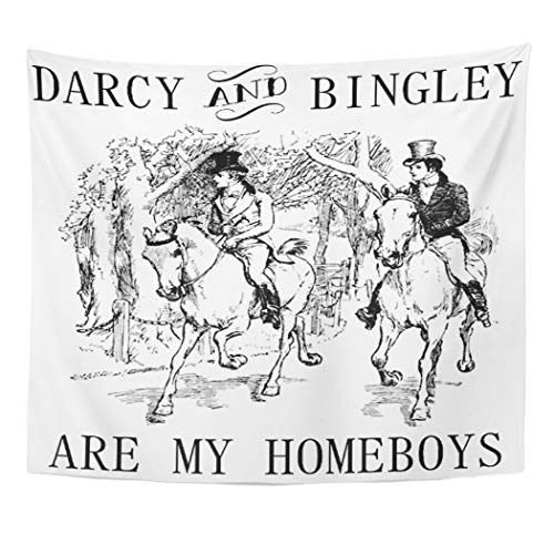 Semtomn Tapestry Artwork Wall Hanging Jane Pride Prejudice Mr Darcy Bingley Austen Homeboys 50x60 Inches Tapestries Mattress Tablecloth Curtain Home Decor -
