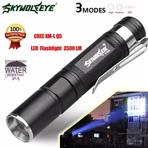 [Willsa Mini 3 Mode 3500LM LED Flashlight Zoomable Super Bright Light CREE Q5 Lamp] (Led Light Dance Costumes)
