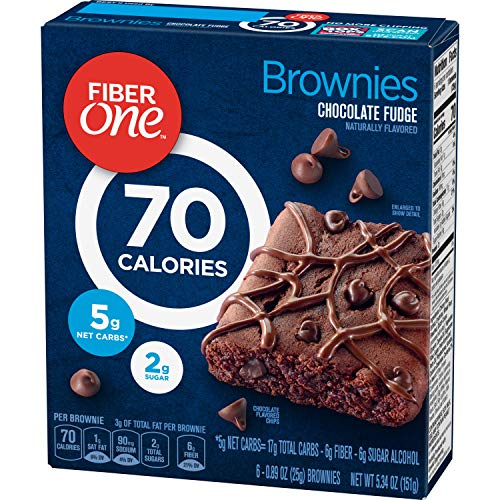 Fiber One Brownies, 70 Calorie Bar, 5 Net Carbs, Snacks, Chocolate Fudge, 6ct (Pack of 8) ()