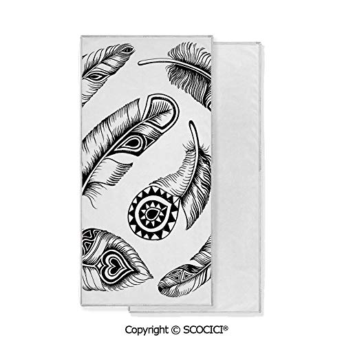 Long-Lasting and Soft Lightweight Quick-Dry Polyester Towel,Black Feathers with Primitive Tribal Geometrical Motifs Arranged in a Circle Print Decorative (15x30 inch),Suitable For Camping, Running, C
