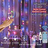 Curtain String Lights Upgraded Sound + Music Control, 300 LED USB Plug in Fairy String Lights, 4 Music Control Modes and 8 Light Modes Twinkle Lights for Bedroom Weddings Party Garden (Multi Color)