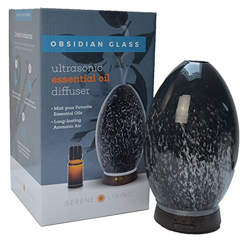 (GreenAir Serene Living Obsidian Glass Ultrasonic Essential Oil Diffuser for Aromatherapy – Includes Nightlight 3-Stage Dimmer – 4 Hour Run Time – Hand-Blown Glass –)