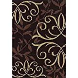 ORIAN RUGS IRON FLEUR CHOCOLATE ACCENT RUG, 31 IN. X 45 IN. For Sale
