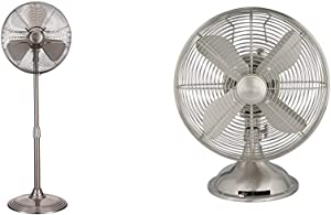 """Hunter 90438 16"""" RETRO Stand Fan with Brushed Nickel Finish & Hunter Retro Table Fan, 12"""", Brushed Nickel"""