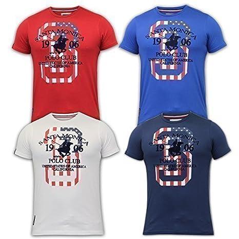 Santa Monica Camiseta Hombre Polo Club Bandera EUA Estampado ...