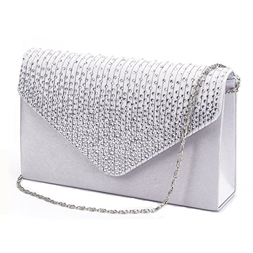 Nodykka Women Evening Envelope Rhinestone Frosted Handbag Party Bridal Clutch Purse Shoulder Cross Body Bag, Silver