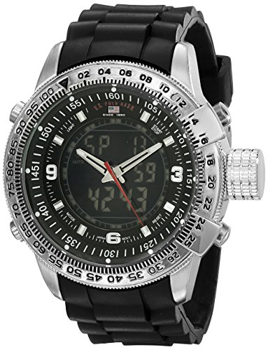 U.S. Polo Assn. Sport Men's US9047 Analog-Digital Black Dial Black Rubber Strap Watch -