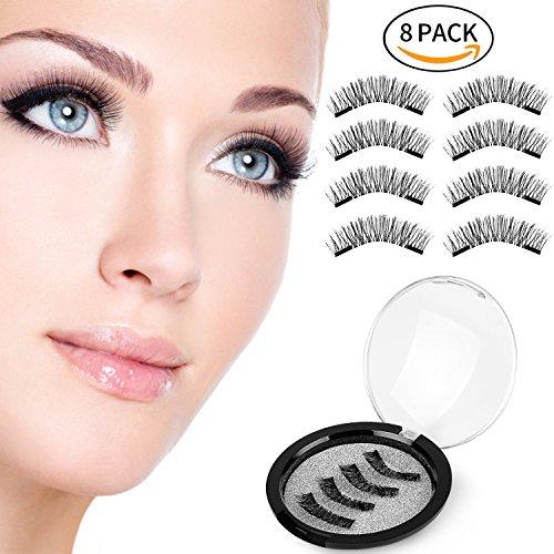 Magnetic False Eyelashes, CBoner 3D Fiber Reusable Lashes Extension,Long Lasting Natural and Bushy Professional Eye Lash (8 Pcs) (Black)