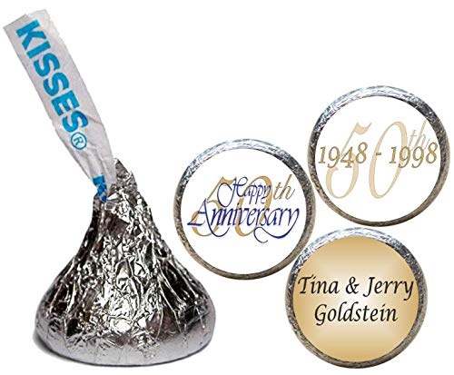Stickers for the Bottom of Chocolate Kisses, 50th Anniversary (Set of ()