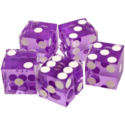 Precision 19mm Casino (Trademark Poker 19mm A Grade Serialized Set of Casino Dice (Purple))