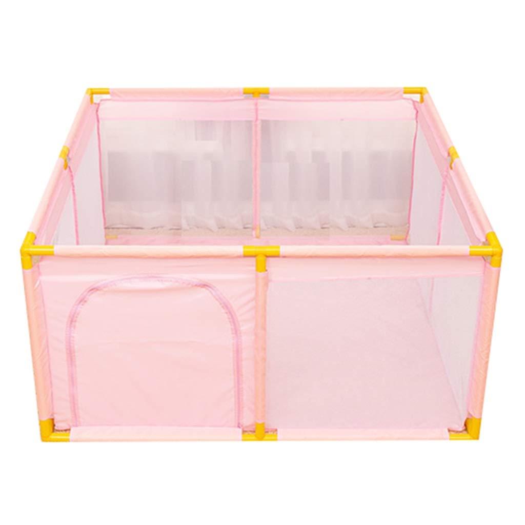 女の赤ちゃんのための特大のベビーベビーサークル、フロアマット付き旅行ポータブルベビーサークル、オックスフォード布、128×128×65 cm ベビーサークル (色 : ピンク)  ピンク B0136ZU0KK