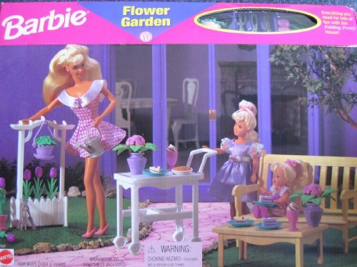 Barbie Flower Garden Playset - Folding Pretty House (1996 Arcotoys, (Barbie Garden)