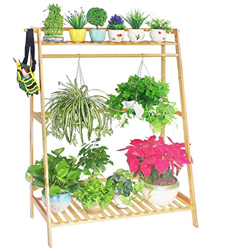 Bamboo Large Hanging Plant Stand Planter Shelves Flower Pot Organizer Rack Display Shelving Plants Shelf Unit Holder,Multi Purpose Storage Garment Shoe Rack with Top Rod and 2 Hooks by COPREE