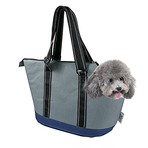 (Portable Small Pet Dog Puppy Cat Travel Outdoor Carrier Carry Tote Bag (Dark Grey) - Go Shopping, Hiking, Walking, with Doggy)