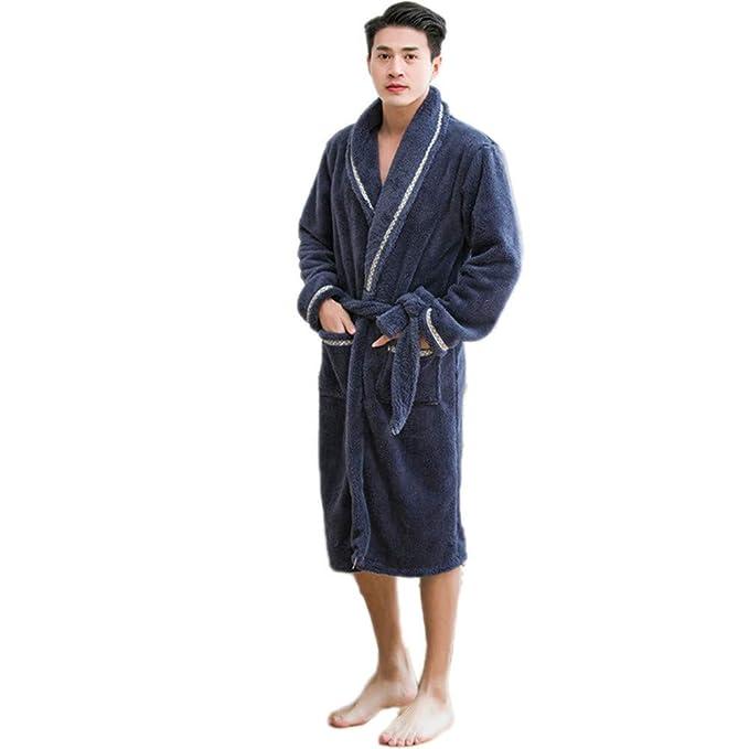 Sijux Lujo de los Hombres Super Suave Terciopelo Towelling baño Bata Batas Toalla Albornoz Ropa de Noche Housecoat, Blue, XL: Amazon.es: Ropa y accesorios