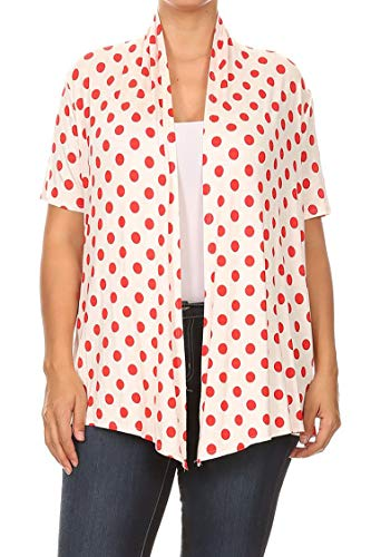 (Plus Size Floral Polka Print Loose Fit Open Front Draped Cardigan/Made in USA Polka White Red XL)