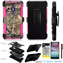 For ZTE BLADE X MAX Z983 /3Items [Clear LCD Film]+Stylus Pen+[Impact Resistance] Dual Layer [Belt Clip] Holster Combo [KickStand] Phone Case Tree Camo Leaf - Pink