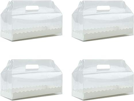 UPKOCH - Caja transparente para tartas con asa, 4 unidades, para ...