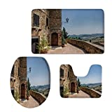 iPrint Fashion 3D Baseball Printed,Italian Decor,The Walls of Pienza in Tuscany Historical European Landmark,Light Brown Green Light Blue,U-Shaped Toilet Mat+Area Rug+Toilet Lid Covers 3PCS/Set