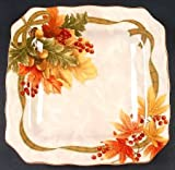 222 Fifth Autumn Celebration Square Salad Plates, Set of 4 Harvest Thanksgiving