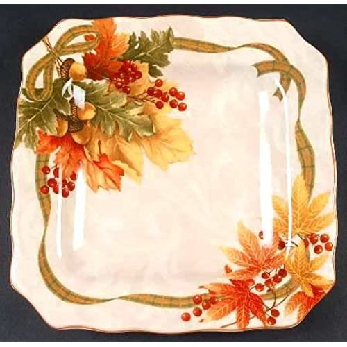 222 Fifth Autumn Celebration Square Salad Plates Set Of 4 Harvest Thanksgiving